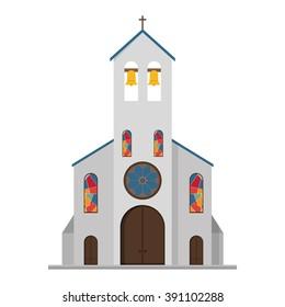 Cute cartoon vector illustration of a church