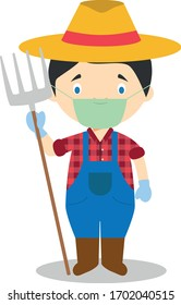 Cute cartoon vector illustration of a farmer with surgical mask and latex gloves as protection against a health emergency