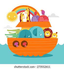 A cute cartoon vector illustration of a happy colorful noah's ark. There's a boat vessel, wild animals in pair and rainbow and sun.