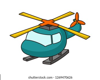 cute cartoon vector illustration of a helicopter