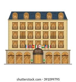 Cute cartoon vector illustration of a hotel