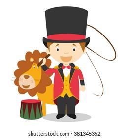 Cute cartoon vector illustration of a lion tamer
