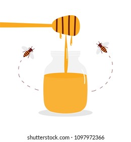 Cute cartoon vector illustration with liquid honey in glass jar with dipper and small honey bees flying around.