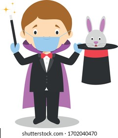 Cute cartoon vector illustration of a magician with surgical mask and latex gloves as protection against a health emergency