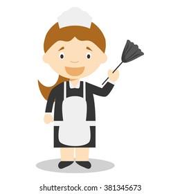 Cute cartoon vector illustration of a maid