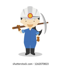 Cute cartoon vector illustration of a miner. Women Professions Series