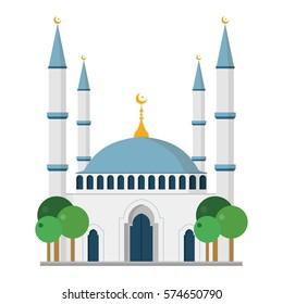 Cute cartoon vector illustration of a mosque