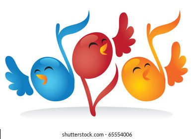 Cute cartoon vector illustration of musical note birds singing together as a choir.