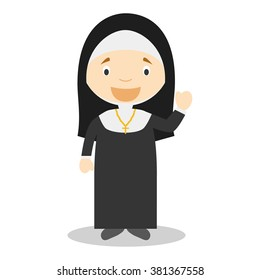 Cute cartoon vector illustration of a nun