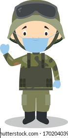 Cute cartoon vector illustration of a soldier with surgical mask and latex gloves as protection against a health emergency