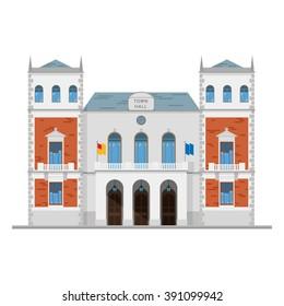 Cute cartoon vector illustration of a town hall