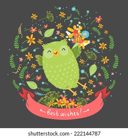 "Cute cartoon vector owl with flowers on dark background. Ribbon with ""Best wishes""or space for other text"