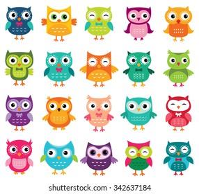 Cute cartoon vector owls collection