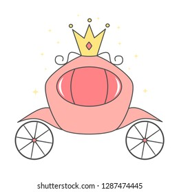 cute cartoon vector pink royal carriage isolated on white background