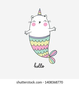 Cute cartoon vector print with cat mermaid - unicorn. Cool summer print. Can be used for T-shirt design and children's room decor.