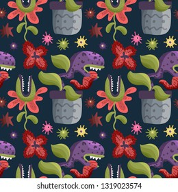 Cute cartoon vector seamless pattern with cute color monster predator flowers in a flat style. Carnivorous plants.