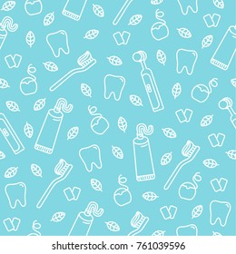 Cute cartoon vector seamless pattern with teeth, toothbrushes, chewing gum, mint leaves, toothpaste and dental floss.