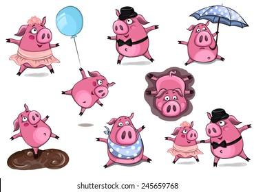 Cute cartoon vector set of pigs
