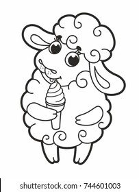 Cute cartoon vector sheep with ice cream. Funny lamb. Vector illustration for kids. Outline