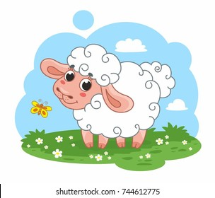 Cute cartoon vector sheep on the meadow. Funny lamb. Vector illustration for kids.