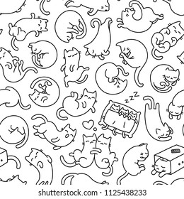 Cute Cartoon Vector Sleepy Cat Pet Icons, Seamless Pattern And Tiled Background