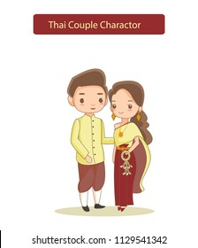 cute cartoon vector of Thai couple in traditional dress , flat cartoon vector isolated from background, wedding couple concept.