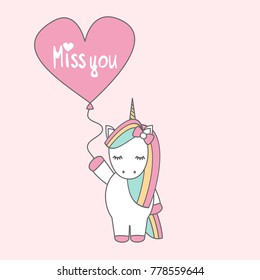 cute cartoon vector unicorn with balloon with hand drawn lettering miss you text