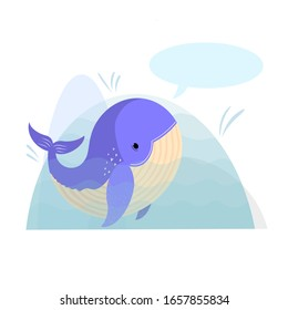 Cute cartoon vector whale card. Folk art vector animal flat illustration. Tribal nordic art with place for your text.