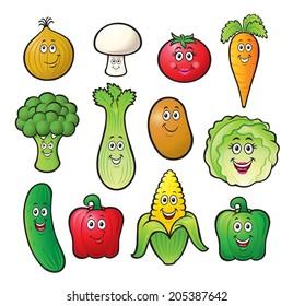 Cute Cartoon Vegetable Characters