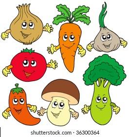 Cute cartoon vegetable collection - vector illustration.