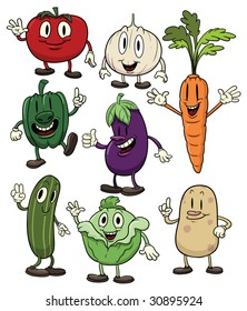 Cute cartoon vegetables. All in different layers for easy editing.