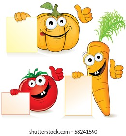 Cute cartoon vegetables with empty sign