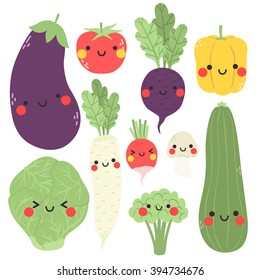 cute cartoon vegetables set. Illustration of cute eggplant, tomato, broccoli, daikon radish, carrot, radish, zucchini, mushroom and beet with funny faces on white background.