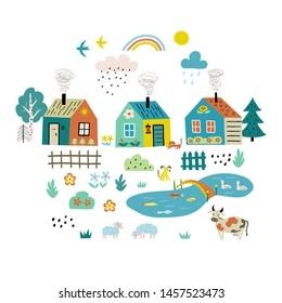 Cute cartoon village. Funny doodle farm landscape with country houses, trees, flowers, pets, pond. Hand drawn flat vector illustration, isolated on white.