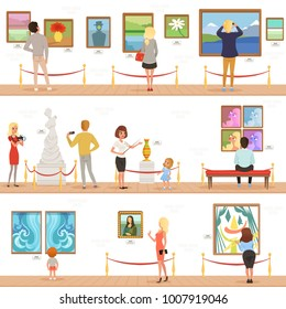 Cute cartoon visitors and guide characters in art museum. People admire paintings and sculptures in the gallery. Vertical flat banners. Vector illustration.