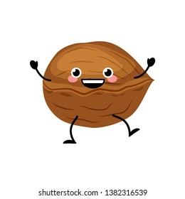 Cute cartoon walnut vector illustration isolated on white background.