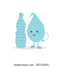 Cute cartoon water drop hugging bottle of water, concept of drink and hydration for healthy and happy life.