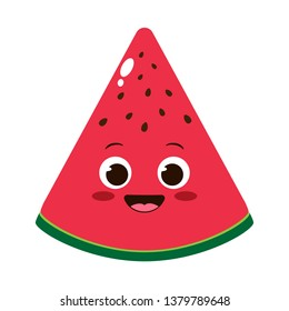 Cute cartoon watermelon slice character with funny face. Happy emoji  summer background vector illustration. Organic vegetarian healthy food drawing