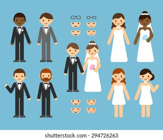 A cute cartoon wedding couple constructor set. Different clothes, skin tones, hair styles. Various poses and facial expressions.
