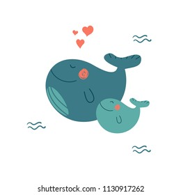 Cute cartoon whale with baby whale enjoying summer. Lovely childish vector illustration.