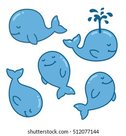 Cute cartoon whale set, different poses. Isolated hand drawn vector illustration.