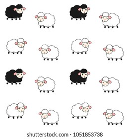 cute cartoon white and black sheeps seamless vector pattern background illustration