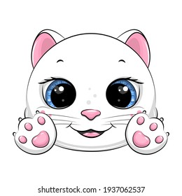 Cute cartoon white cat with paws. Vector illustration of animal head isolated on white.