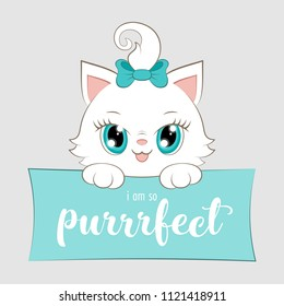 Cute cartoon white kitten with hand drawn lettering. Vector Illustration