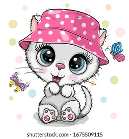 Cute Cartoon white Kitten in a panama hat and butterflies on a white background