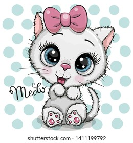 Cute Cartoon white Kitten with a pink bow on a dots background