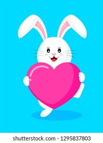 Cute cartoon white rabbit holding love hearts. Happy Valentine's day.  Cartoon character design. Illustration isolated on white background.