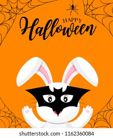 Cute cartoon white rabbit with mask of bat. Happy Halloween day. Funny illustration for banner, poster, greeting card and invitation.