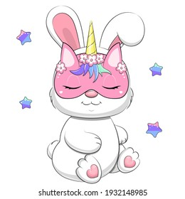 A cute cartoon white rabbit wears a unicorn mask. Vector illustration of an animal on a white background with stars.