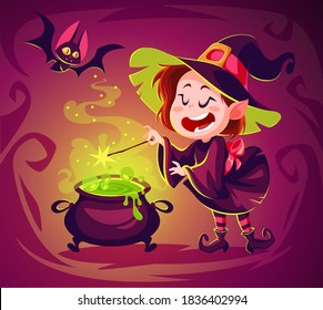 Cute cartoon witch character. Happy halloween vector illustration. Character concept art. Witch cooking poison in a cauldron. Spooky witchcraft. Flying bat.